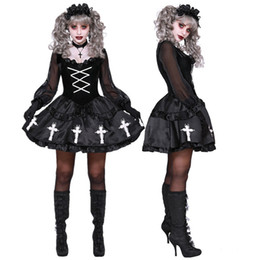 2020 costume fantasma di carnevale Halloween Anime Lolita età Donne Voodoo Doll Costume Carnival Party Ghost Bride Strega Cosplay Fancy Dress Up costume fantasma di carnevale economici
