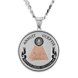 Piramidal colgante collar de oro online-Marca Jewlery Diseñador Collar de Oro Hombres Hielo Fuera Hip Hop Colgante Collares de Acero Inoxidable Pirámides Egipcia Horus Colgante de Ojos