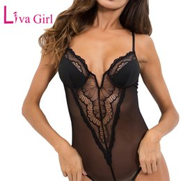 mesh bodysuits women Promo Codes - LIVA GIRL Satin Cups Accent Red Floral Lace Bodysuit for Women Sexy V Neck Sheer Mesh Bodysuits Sleeveless Jumpsuits Combinaison