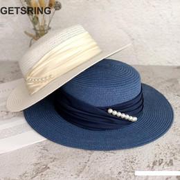 2020 paglie di marina Cappello di estate GETSRING donne cappelli perla delle donne rappezzatura della paglia cappelli della spiaggia Bianco Nero Navy Womens moda 2019 Nuovo sconti paglie di marina