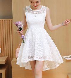 55d76376ba New Summer Girl Women Dress Dovetail Mini Wedding Party Short Dresses Solid  Lace Dresses Cute