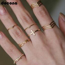 2019 midi metal Metal punk color dorado amor crucigrama conjunto anillo de nudillo para las mujeres chica moda cristal geométrica midi anillos set 2619 rebajas midi metal