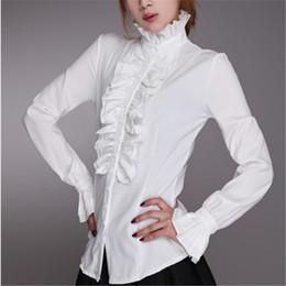 Рубашка с длинным рукавом онлайн-Women Office Lady OL Shirt Frilly Ruffle shirts Tops Flounce Blouse Clothes Victorian Women OL Office Lady Shirt High Neck