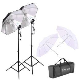 Fotografia Dual Photo Ombrello Illuminazione Video Kit Umbrella Riflettore Foto Lampadina Alto Studio Ombrello Flash Strobe Light Stand (Nero / da