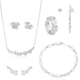 Lange modeschmucksäcke online-100% 925 Sterling Silber Bär Ohrstecker Lange Ohrringe Modeschmuck 2019 Elegante Schlüsselbein Kette Halskette Armband Ring