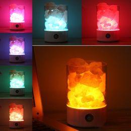 lámparas de sal del himalaya Rebajas Luz de cristal USB lámpara de sal del himalaya natural led purificador de aire Mood Creator lámpara de mesa de luz cálida interior lámpara de lava de dormitorio