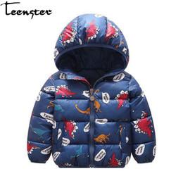 2019 giacche per bambini piccoli Teenster autunno bambini cappotti ragazzi di inverno Dinosaur Animal fumetto stampato neonata Giù cotone Suit Bambino incappucciato Outwear Jacket sconti giacche per bambini piccoli
