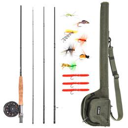 Kit pesce volare online-Lixada 9' Canna da pesca e bobina Combo carpa canna da pesca con Carry Bag 10 Flies completa pesca pacchetto Starter Kit
