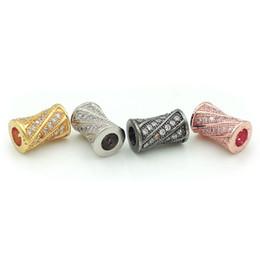 Bracciale in vita online-10 * 6 * 6mm Micro Pave Clear CZ Waist Tamburo adatto per fare braccialetti fai da te o gioielli collane