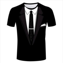 T-shirt da smoking online-Casual uomo Womans Tuxedo 3D HD Stampa T-shirt Estate a maniche corte T-shirt O-Collo Stile di modo Unisex Shirt Marca Tees RX011