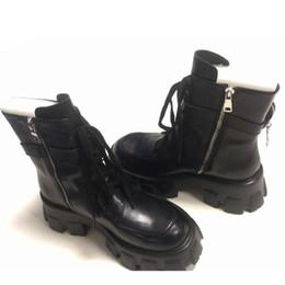 2019 Mode Taschen Stiefel für Frauen Stiefel starken unteren Lace Up Kampf Runway Buckle Strap Ankle Boot