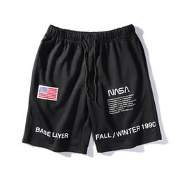 Pantalon de drapeau américain en Ligne-19SS Heron Preston shorts de mode mixte drapeau américain motif astronautes hommes et femmes portant le même paragraphe