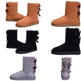 apartamentos em couro austrália Desconto Com a caixa Botas Plana tornozelo Mulher Neve Bota Moda Couro ovelhas Austrália Clássico Quente Inverno homens Sapatos de grife de luxo Bailey bota 36-41