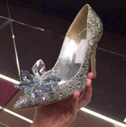 flores tamanho pequeno Desconto 2019 novas mulheres da moda top grade de cristal de cinderela shoes nupcial strass sapatos de casamento com flor de couro genuíno grande tamanho pequeno 33 a40