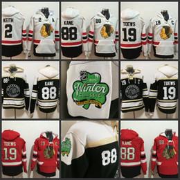 Chandail de hockey à capuche en Ligne-Chandail à capuchon de hockey des Blackhawks de Chicago pour hommes 88 Patrick kane 19 Jonathan Toews 2019 Winter Classic Noir Tous les chandails cousus
