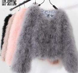 Giacca di pelliccia di piuma dello struzzo online-LET-IMPOSTAZIONE 10 colori Struzzo sexy di modo di lana di tacchino donne cappotto di pelliccia di lana pelliccia piuma giacca corta