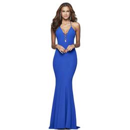 La nuova gonna lunga delle signore eleganti blu reale scava fuori il vestito aderente dall'incollatura del cocktail del partito di sera del collo del V-collo sexy nero da
