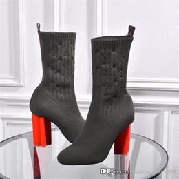 Botas altas online-Estirar tacón alto para mujer Botas calcetín, Rose óxido eléctrico de arranque del tobillo del dedo del pie con la Llanura de mezclado y Negro Tela robusto bloque talones Tamaño 35-41