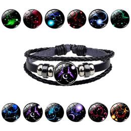 2020 braccialetto di cuoio all'ingrosso della corda Trasporto del commercio all'ingrosso luminoso della costellazione dodici gemme in rilievo in pelle corda brillante regalo del braccialetto di modo Retro Compleanno sconti braccialetto di cuoio all'ingrosso della corda