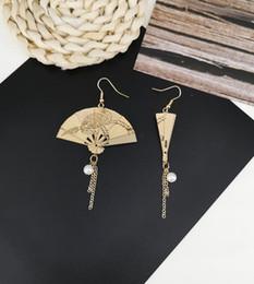 Fan de la moda china online-Versión coreana de la moda del estilo chino hecho a mano de metal retro abanico abanico abanico abanico pendientes con flecos temperamento pendientes clip de oreja fem