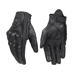 Черные кожаные перчатки велосипеда онлайн-Black Windproof Pursuit Real Leather Motorcycle Gloves Touch Screen Men Women Motocross Bike Moto Gloves