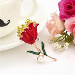красные хрустальные розы Скидка Crystal Red Rose Pins Горный Хрусталь Цветок Брошь Женская Одежда Платье Аксессуары Милые Свадьбы Банкетный Брошь