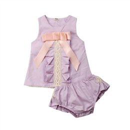 Camisas roxas para crianças on-line-2019 Canis Verão Roxo Da Criança Dos Miúdos Do Bebê Menina Floral Outfits Roupas T-shirt Tops + Calções Shorts 2 PCS Casual Set