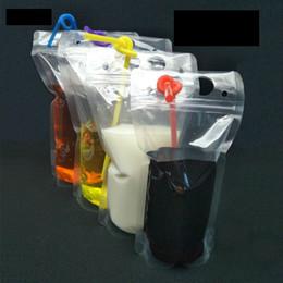 roter nachtstand Rabatt Trinkbeutel aus Kunststoff mit Strohhalmen Aufstehen Wiederverschließbarer Reißverschluss Trinkbeutel Handtrinkbeutel Smoothiesäcke wiederverwendbar