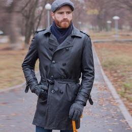 d81023eeced 2019 abrigos largos de cuero Trench coat de cuero genuino X-long hombres de  lujo