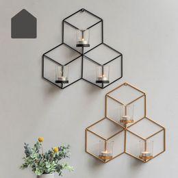 2019 luzes de chá de marfim DIY Wall Mounted 3D geométrica Candlestick Velinha Castiçal do metal Castiçal Home Decor NOVO