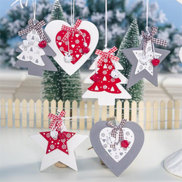 chocolate christmas gift Coupons - 1pc Cute Wooden Star&Tree Christmas Tree Decorations Xmas Party Pendants Christmas Tree DIY Wood Crafts Kids Gifts Decorations