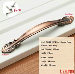 7607-128 красная медь дверные ручки шкаф ящик тянет кухонный шкаф ручки и ручки фитинги для мебельных ручек европейский стиль от