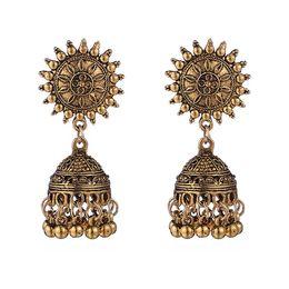 boucles d'oreilles en or indien Promotion Luxury Designer Vintage Indian Style Boucles d'oreilles Femme Sun Glands Photo Mode Boucles d'oreilles Dangle Antique Gold Couleur Argent