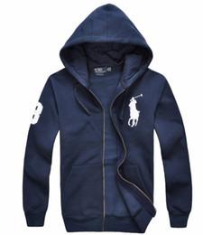 Abrigo largo de polo online-2018 ENVÍO GRATUITO De calidad superior robin de los hombres de Ralph polo manga larga casual sudaderas con capucha abrigo Otoño Invierno Cremallera suéter polar chaquetas polo COAT