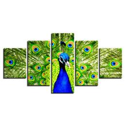 2019 живопись павлина в рамке 5 Шт. Комбинации HD павлин расправляет хвост Храмовая Живопись, Украшение Стены Печатные Картины Маслом плакат дешево живопись павлина в рамке