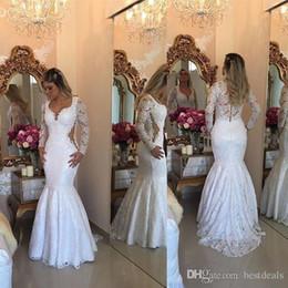 robe de mariée arabe Promotion 2019 arabe Dubaï robes de bal de sirène de dentelle manches longues longueur de plancher de mariée robes plus la taille arrière boutons couverts robes de soirée formelles