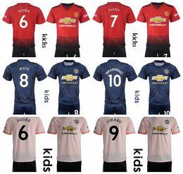 921d3921a3462 Youth Man United Jersey Kids Set 18 19 Fútbol ALEXIS MATA YOUNG VALENCIA DE  GEA GOALIE Camiseta de fútbol Uniforme Liga de campeones Niños