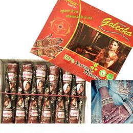 dragon design autocollant Promotion 12 pièces de Brown naturel Mehndi Henna Cônes tatouages temporaires Henna Pâte pour la peinture à la main Body Tattoo