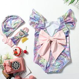 Kinder mädchen badeanzug rüsche online-Kinder Mädchen Meerjungfrau Skala Badebekleidung einteilige Rüschehülse rückenfreies großes Bowknot mit Hut Stirnband