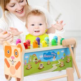 2019 bater brinquedos de madeira Batida das Crianças Brinquedos Jogo de Puzzle Hamsters Thrushing Frutas Percussão das Crianças Martelos de Madeira Strike Crianças Knocking Hamsters desconto bater brinquedos de madeira