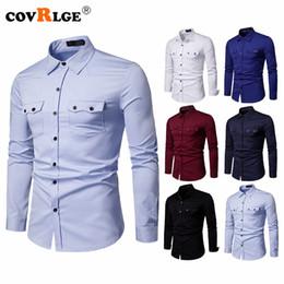 camisas de bolso duplo homens Desconto Camisa de Negócios dos homens Covrlge Slim Fit Novas Camisas Casuais Mens Dupla Bolso Roupas de Manga Longa MCL197