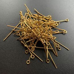 Gold überzogene schmucksachen, die versorgungsmaterialien bilden online-200 stücke Gold Überzogene Metallköpfe Eye Pins für Schmuck Machen Liefert Metall Pin Erkenntnisse Zubehör Großhandel Über 2,8-3 cm