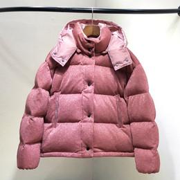 Diseñado sudaderas rosa online-2018 NUEVA M5 mujer Casual abajo chaqueta con capucha corta pato blanco invierno parkas marca diseño invierno prendas de vestir exteriores color rosa brillante