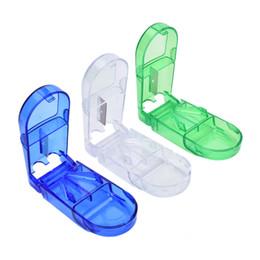 Pastillas para tabletas online-Nueva llegada 6pcs / lot Mini 3Colors de caso útil portátil Titular de la píldora caja de almacenamiento de la tableta cortador cortador de píldoras