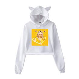 Womens Long Sleeve Crop Top Hoodies Cute Hamster Cat Ear Lumbar Hoodie Pullover Sweater
