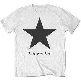 Черные тройники белые звезды онлайн-Дэвид Боуи 'Blackstar (Черная Звезда на белом)' футболка - новый чиновник! Мужчины Женщины Унисекс Мода Смешно Прохладный Топ Тройник Черный