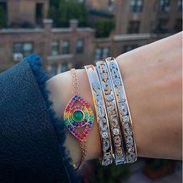 Argentina Plata de ley 925 pulsera mal de ojo 8 colores arco iris colorido cz afortunado joyería turca Pulseras de cadena de eslabones de plata fina Suministro