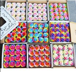 Sabão rosa pétala casamento favores on-line-Sabão colorido Rose Flores Decorativas Soap Flower Pétala Favores Do Casamento Presente Do Dia Dos Namorados Rainbow Rose Bouquet 16 Pçs / set