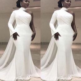 Vestido de noite branco moderno on-line-Moderno Branco Chiffon Gola Alta Único Manga Longa Sereia Formal Vestidos de Noite Trompete Simples África Mulheres Vestido de Baile