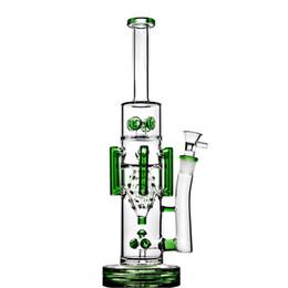 Vaso alto bong verde online-Tall Big Bong Green Vaso de vidrio grueso Bongs Tuberías de agua Fumar agua Bong Recycler Dab Rigs Con 18 mm Hookahs humo 15.4 '